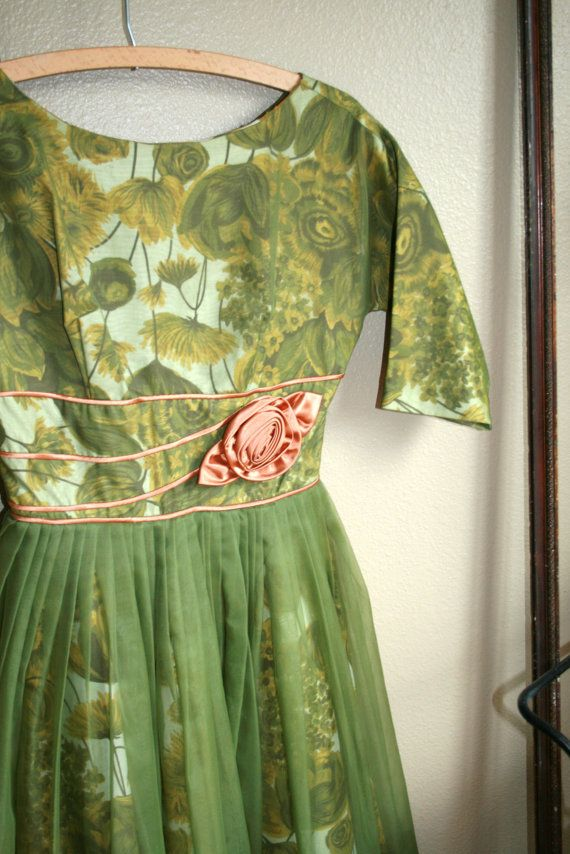 Green Floral 1950's Dress