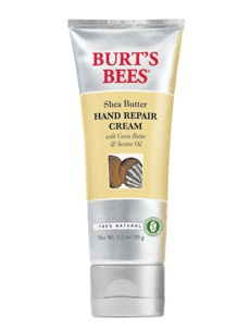 Burt's Bees Shea Butter Hand Repair Cream ~  I swear by this cream.  I tried oh so many other brands for relief of drying, cracking, bleeding hands.  Honestly, this does the trick.  I would be a walking, talking advertisement because I am a living proof & tested testamony of its cure.