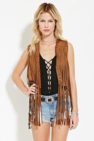 Fringed Faux Suede Vest | Forever 21 - 2000176651
