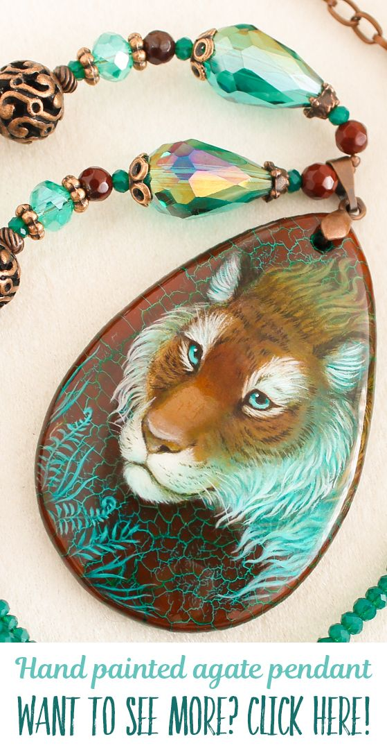 Spirit of Jungle greenery tiger pendant. Hand painted by oil paints agate stone pendant. Each pendant is unique, I don't make any copy. You can buy it in my Etsy shop, I make sales each month. Usually items sells very fast, so subscribe me in social media and you always will be informed about all sales and items! My nickname on Facebook, Instagram and Devianart is same - LunarFerns
