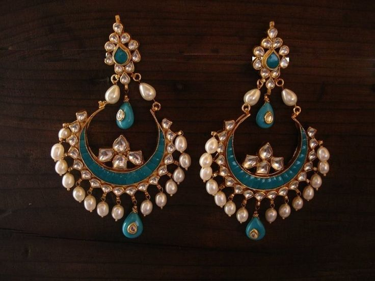 Kundan Earrings Chandbali Chandelier Earrings Gold Plated Indian Wedding Jewelry #Handmade #ScrewBack