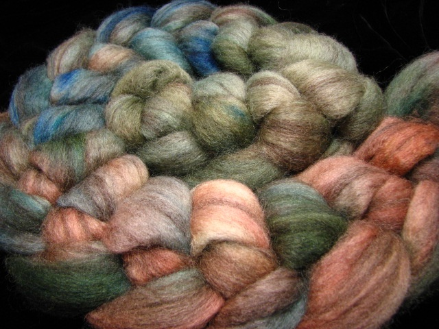 Verdigris - gradient hand dyed by The Painted Tiger on Mixed BFL wool.