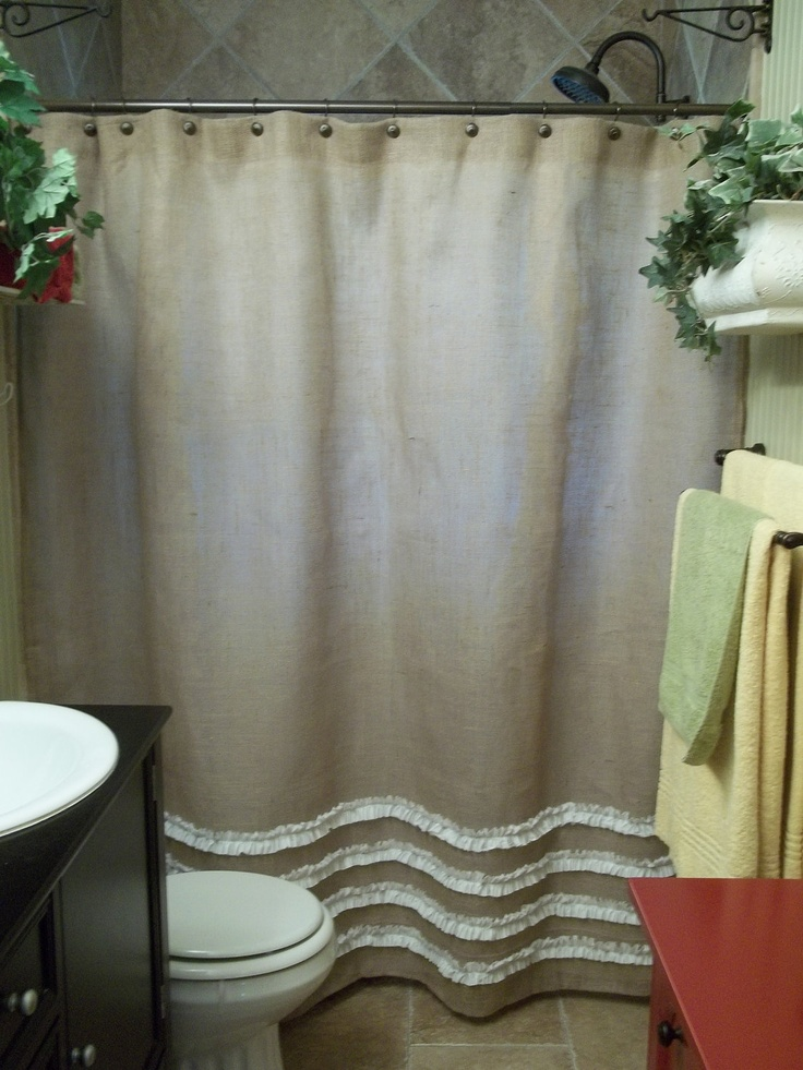 Burlap Shower Curtain - In Natural Tan - with rows of White Ruffles. $72.00, via Etsy.