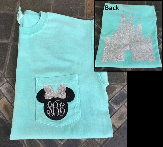 This personalized minnie mouse inspired comfort colors t-shirt with a glitter castle silhouette on the back is perfect for any vacation! In the