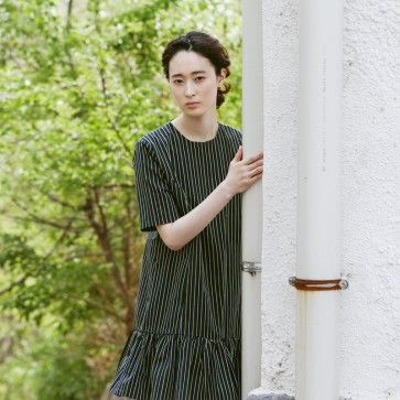 [Rainbow Stripe Dress: Green Stripe] A #cute #dress featuring a vertical #striped pattern. Round neckline. Short sleeves. #Frill #skirt. Back zipper placket. #koreanfashion #koreandress #cutedress #lookbook #chictopia #fashiontoany