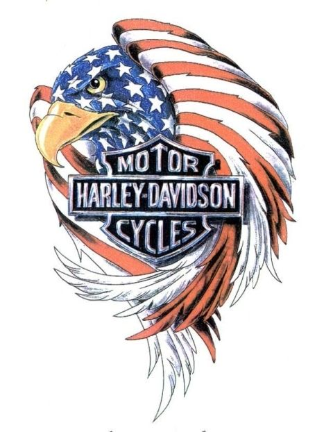 Harley-Davidson Eagle Tattoo American Flag This is really awesome