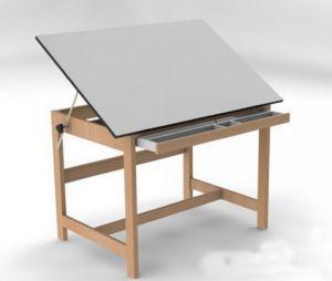 Стол деревянный для работы с наклонной плоскостью и выдвижным ящиком 130х90 см ― www.Oldcolors.ru Профессиональные товары для художников