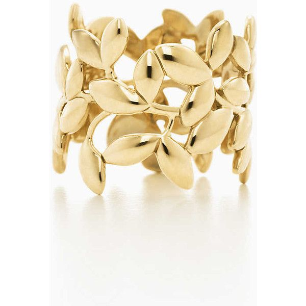 Paloma Picasso Olive Leaf Band Ring ($1,600) ❤ liked on Polyvore featuring jewelry, rings, gold jewellery, olive leaf ring, leaves ring, band rings and 18 karat gold ring