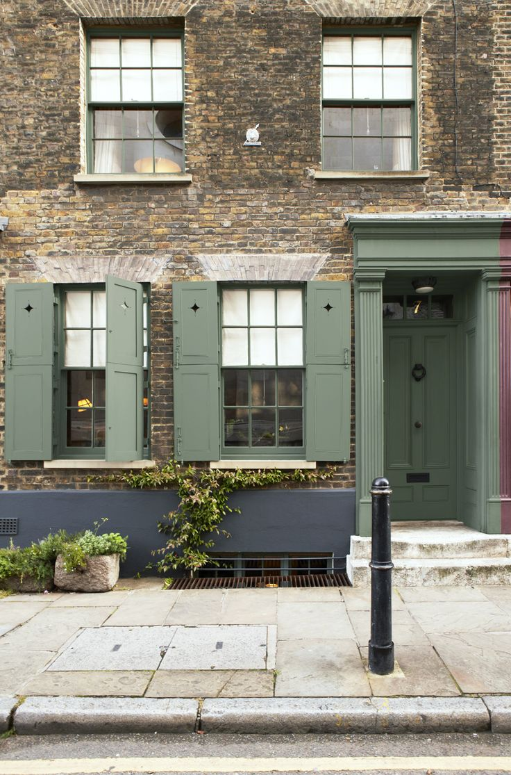 Scheme 4 - Facade, exterior woodwork and door painted in Farrow  Ball Green Smoke. Render beneath windows in Off-Black. Image from Decorating with Colour.