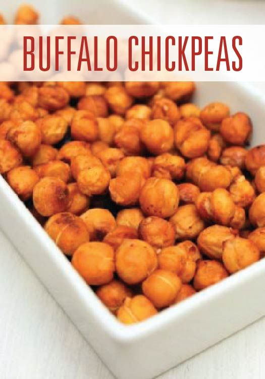 Baked buffalo chickpeas are an easy crunchy snack for after school or football Sundays.