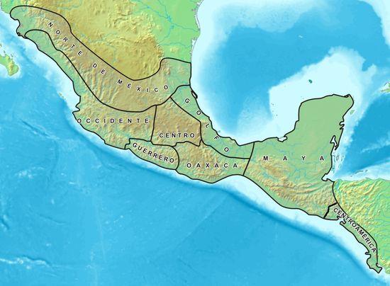 La Mésoamérique s'étend du nord du Mexique au Costa Rica, en incluant le Belize, le Guatemala, l'ouest du Honduras, le Salvador et le versant pacifique du Nicaragua. La Mésoamérique est à différencier de l'Amérique centrale qui, dans son acception géographique, va de l'isthme de Tehuantepec, au sud du Mexique, jusqu'à l'isthme de Panama. La préhistoire et l'histoire de cette aire culturelle sont traditionnellement divisées en trois grandes époques : préclassique, classique et postclassique.