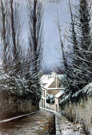 Bernard BUFFET ( 1928 - 1999 ) - Peintre Francais - French Painter Chèvreuse, la descente de la rue Thiers