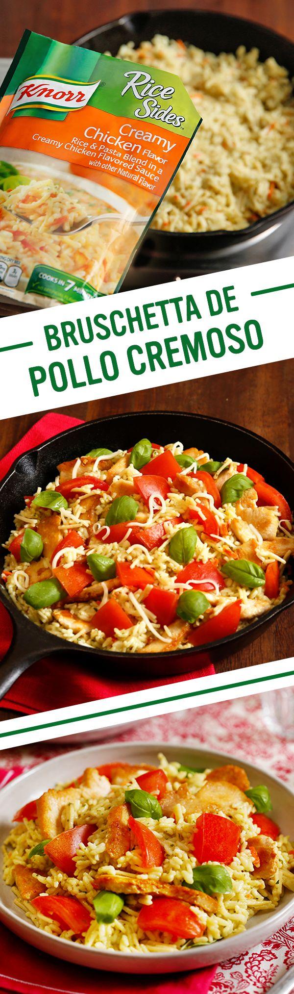 Las mejores cenas familiares son hechas en casa. Esta noche, prueba esta rica receta italiana para Bruschetta de Pollo Cremoso por Knorr. Sigue estos pasos fáciles: 1. Cocina el pollo y el ajo y pon al lado. 2. Prepara el Knorr® Rice Sides™ - Creamy Chicken. 3. Agrega el pollo y los tomates. Ponle el queso y la albahaca. 4. Sirve. ¡Buen provecho!
