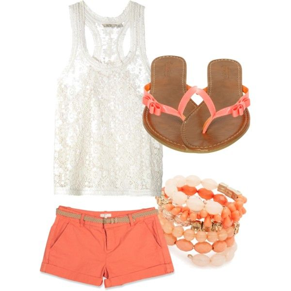 Summer!: Summer Fashion, Summeroutfit, Outfit Idea, Cute Summer Outfit, Coral Outfit, White Lace, Cute Outfit, Coral Shorts, Summer Clothing