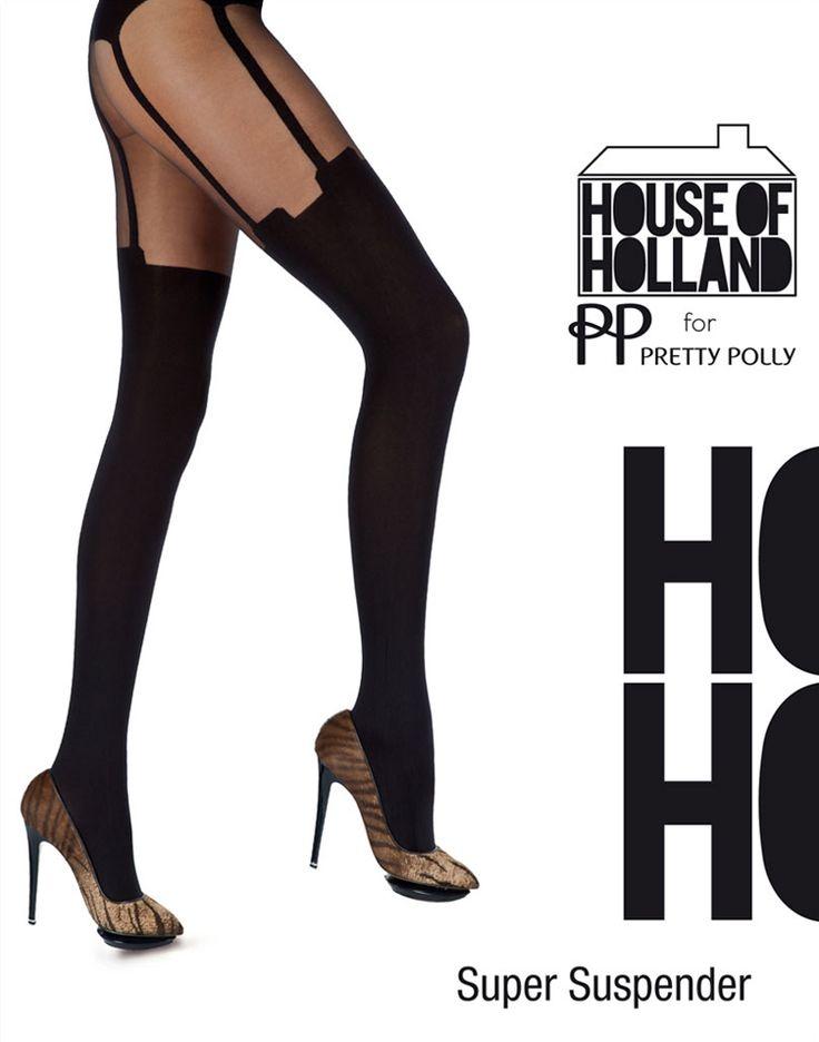 De best verkopende panty van House of Holland is de Super Suspender panty. Merk: Pretty Polly. Dikte: 40 denier opaque, 20 denier transparant. Kleur: zwart. Maat: One size (36 t/m 42)