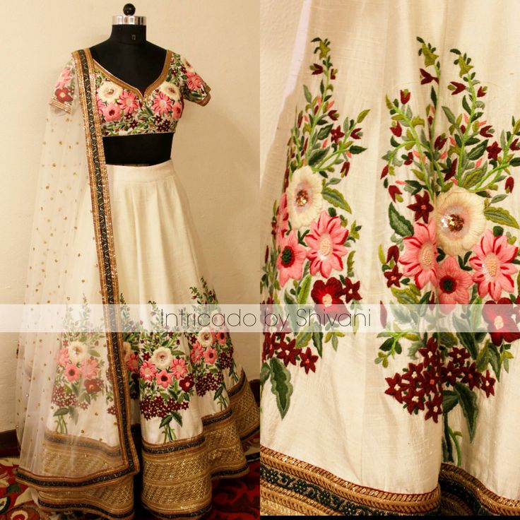 Beautiful hand embroidered lehenga in pure raw silk. Customization available.. To order/enquiry email at shivani@intricado.com 05 January 2017
