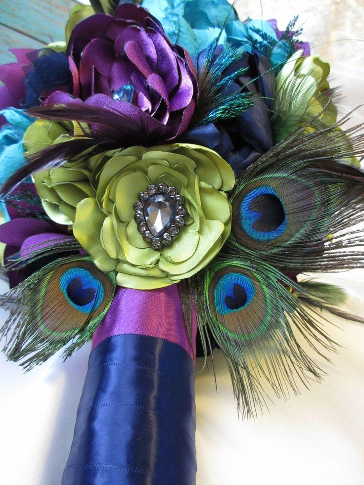 Beautiful Peacock Fabric Flower Wedding Bouquet. $300.00, via Etsy.