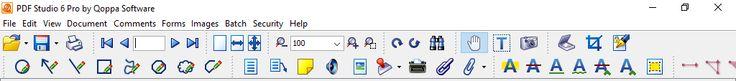 Screenshot of Menus and Icons in PDF Studio 6 Pro - Windows 10.  Taken on 8 March 2016.