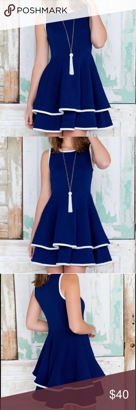 Francesca's Navy Skater Dress NWT Francesca's navy blue double layer skater dress with white trim made of a thick textured material. Francesca's Collections Dresses