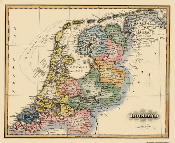 HOLLAND (AMSTERDAM) BY FIELDING LUCAS MAP 1823:  Zuyder Zee, Mense River.  The following towns are featured:  Amsterdam, Armheim, Lillo, Utrecht, Groningen, Lochem, Zutphen, Tiel, Deventer.  This Map is Situated in:  Groningen, Country of Drent, Prince Pality of Friesland, Dutch Brabant, Dutch Flanders.