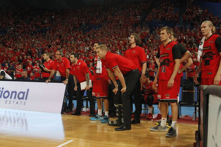 Injured co vice-captains Shawn Redhage and Greg Hire look on from the sideline in game two of the Wildcats semi-final series. Photo: Theron Kirkman/Perth Wildcats