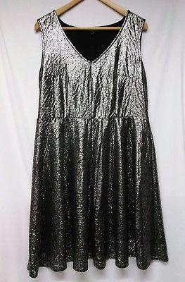 TORRID-HOLIDAYS-SEQUIN-silver-metallic-sparkle-DRESS-Plus-size-1-womens-10-12