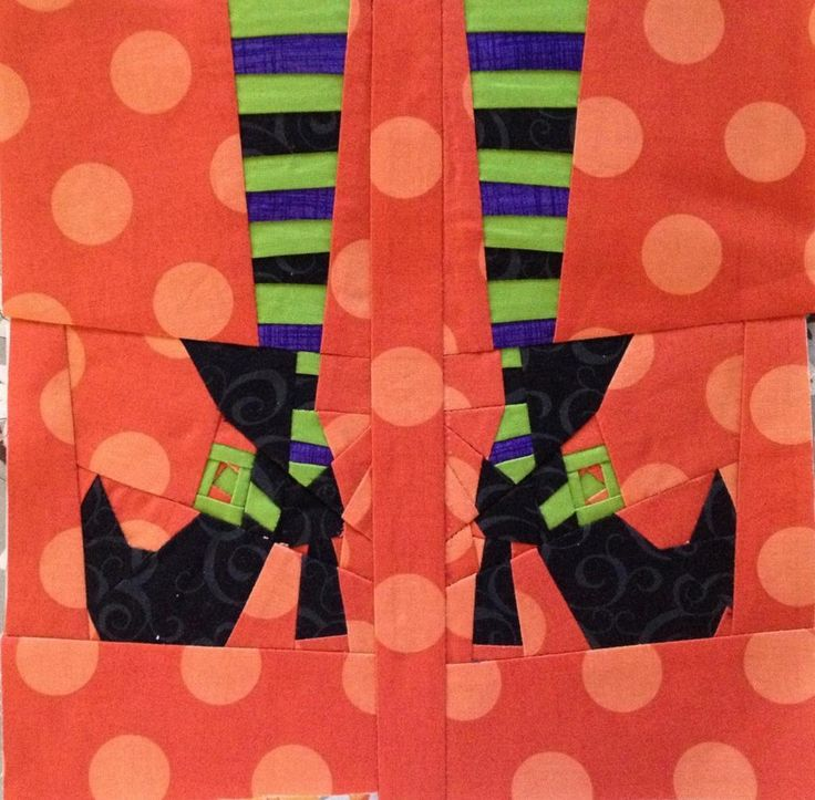 Witch's feet, free halloween quilt block pattern by trilliumdesign