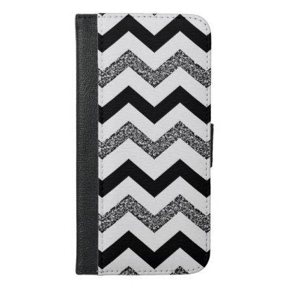 White Glitter Chevron iPhone 6/6s Plus Wallet Case - glitter glamour brilliance sparkle design idea diy elegant