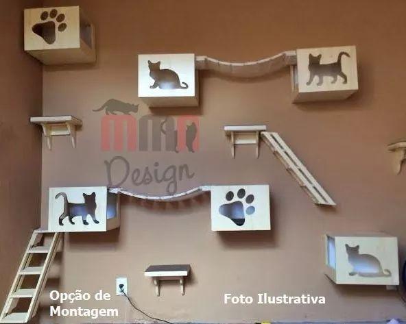 nicho playground para gato,escada,prateleira 1/2 lua e ponte