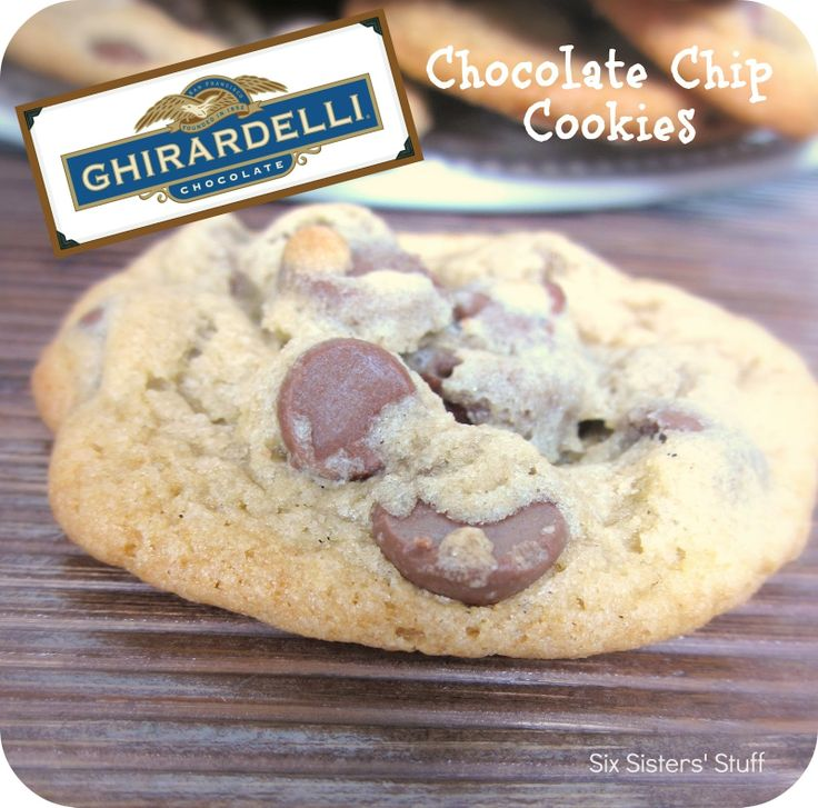 Ghirardelli Chocolate Chip Cookies from sixsistersstuff.com.  Taste like they came straight from the bakery! #cookies #dessert