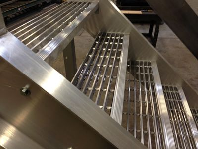 Welded Aluminum Prefab Stairways, Galvanized Stairs, Industrial Stairs, Metal Stairs, Open Tread Stair, OSHA Prefab Stairways