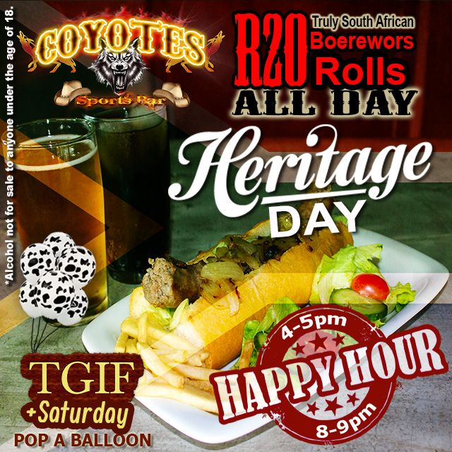 #HeritageDay is around the corner! Grab your boet & celebrate #BraaiDay in true #SouthAfrican style! Find us on Facebook for more info. #happyhour #KZNsouthcoast