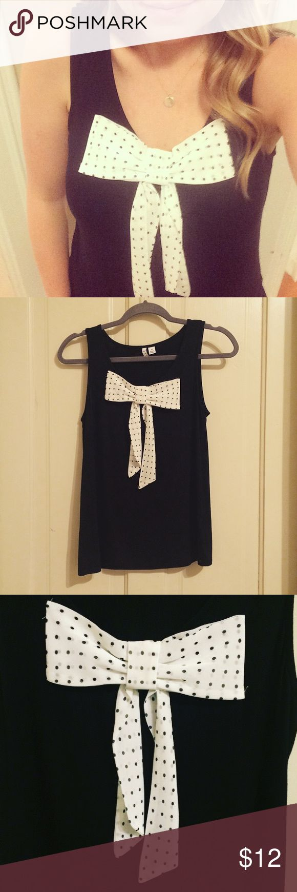Bow top Polka dot sleeveless top! Great alone or with layers! Elle Tops Blouses