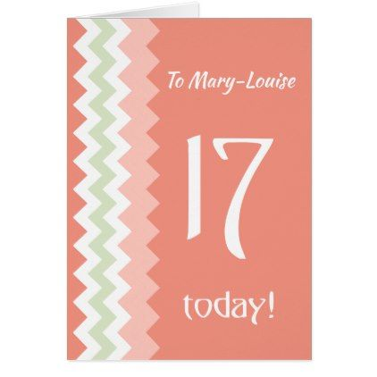 Custom Front 17th Birthday Coral Mint Chevrons Card - birthday gifts party celebration custom gift ideas diy