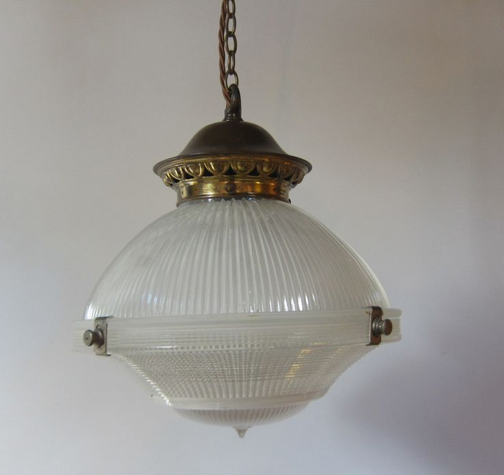 Three part holophane pendant light exeter antique lighting company