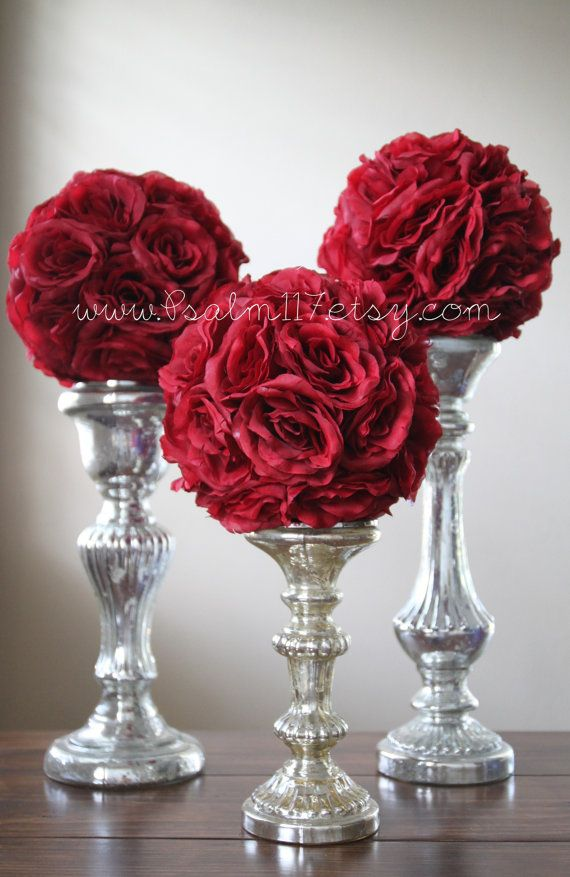 6   8 Inch Wide   BURGUNDY / WINE   Wedding Pomanders   You Choose Ribbon