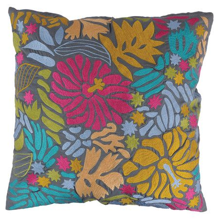 Add a touch of exotic flair to your living room sofa or reading nook arm chair with this eye-catching cotton pillow, showcasing floral embroidery and a rever...