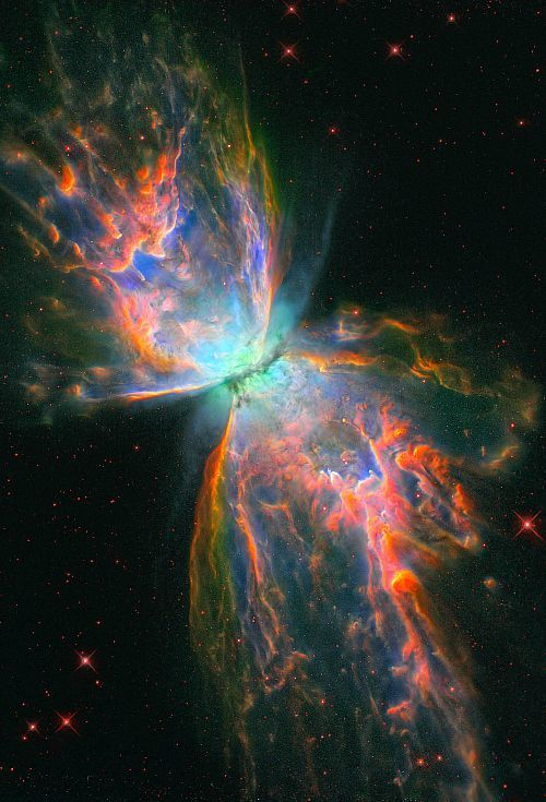 "NASA  4) Butterfly Nebula (NGC 6302) Located in the constellation Scorpius, the structure of this nebula is one of the most fragile and complex that has ever been studied. The butterfly shape has lead scientists to name it's structure a ""bipolar structure."""
