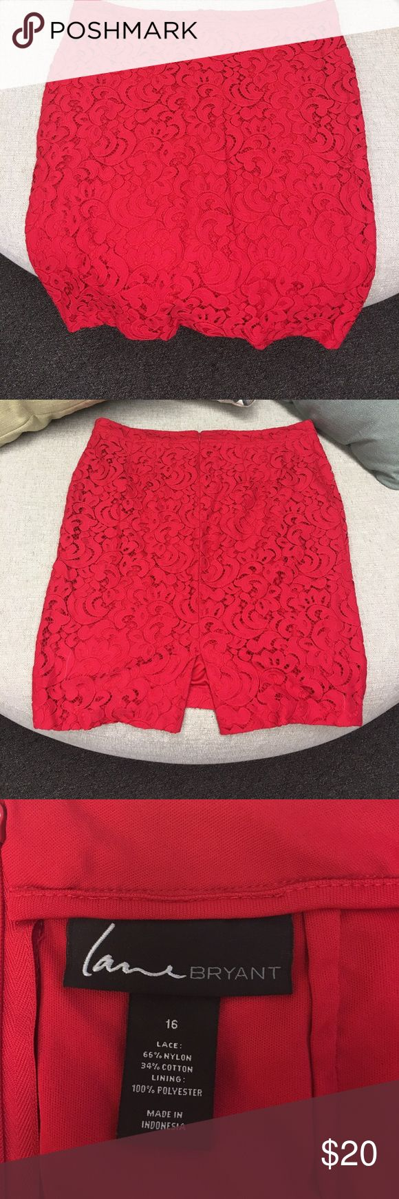 Bright red pencil skirt from Lane Bryant Red lace pencil skirt.  NWOT.   Red lace skirt with red lining. Lane Bryant Skirts Pencil