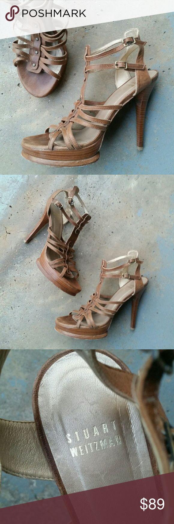 "Stuart Weitzman Leather Brown Strappy High Heels Stuart Weitzman Brown Leather Strappy High Heels. Platform wood soul. 2 buckle closure.  Women's size 7.5. Great condition!  4.5"" heel height. Stuart Weitzman Shoes Heels"