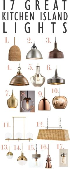 A kitchen island lighting guide. How many light fixtures? How big should the lights be? How far apart? How high above the island?