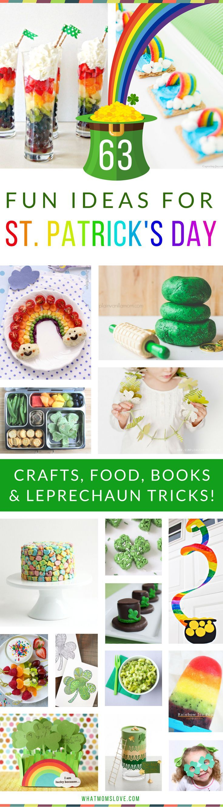 The Best St Patricks Day Activities for Kids | Fun St. Paddy's Crafts, Festive Food and Snacks, Books, Leprechaun tricks and traps, plus more brilliant ideas to celebrate with shamrocks and rainbows galore! Great ideas for toddlers, preschoolers and up. For the full list visit http://www.whatmomslove.com