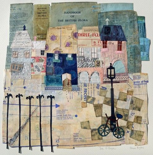 The Village by Oh Golly Gosh / Elaine Hughes - hand and machine stitched paper collages incorporating drawing, textiles and vintage ephemera #Papercollage