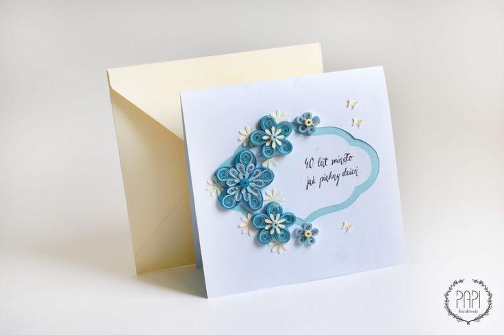 Ręcznie robiona kartka na rocznicę ślubu quilling handmade