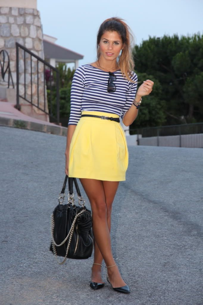 Striped top yellow skirt black handbag summer outfits womens fashion clothes style apparel ...
