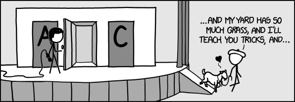 "XKCD has a great take on the classic ""Monty Hall"" problem. If you don't know about the MH problem you should Google it.   Basically, Monty asks you to choose a door. There are two goats and a car. They show you one of the two that is not yours and not the car, then he asks if you'd like to switch or keep your same choice.  It is absolutely counter-intuitive, but absolutely true that you should ALWAYS SWITCH, and this is hotly debated, but it changes your odds of getting the car from 1/3 to…"