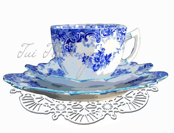 Antique Blue China and Doily Digital Image for by TuiTrading