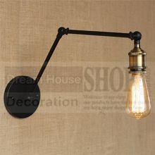 Loft Industriële Wandlampen Vintage Nachtkastje Wandlamp geen Lampenkap E27 Edison Bollen 110 V/220 V twee lange Verstelbare arm(China (Mainland))