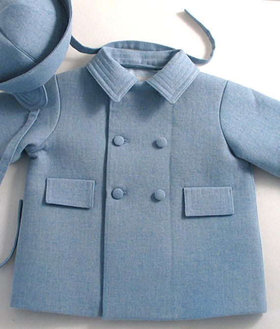 A sweet and very special little wool-mix coat and matching hat custom made for a baby boy. This was inspired by a 1940s vintage coat
