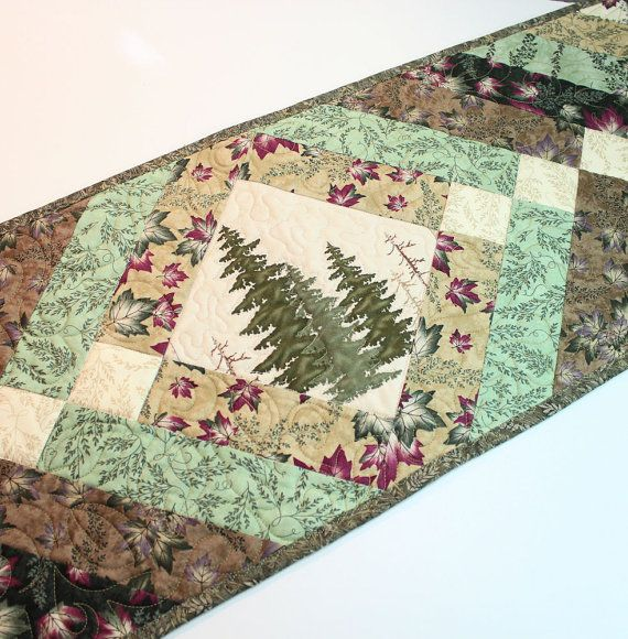Canoe Country Quilted Table Runner - Green and Tan with Pine Trees and Leaves    This soft and subtle table runner quilt is perfect for your